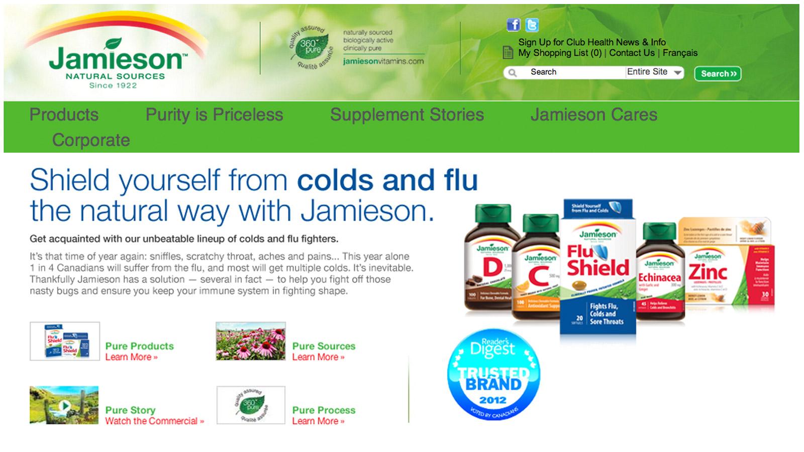 Jamieson Vitamins | FluShield Campaign | Brand Strategy, Digital Marketing, Website Design & Development