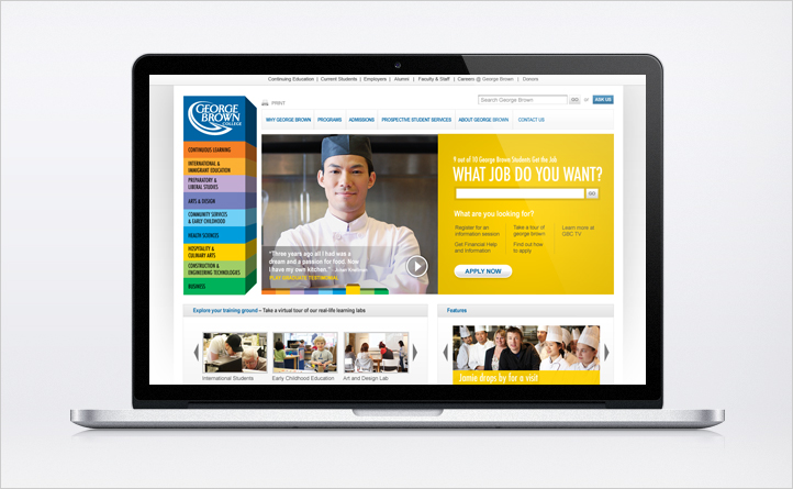 George Brown College | Website Development and Redesign | App Development, Broadcast Production, Digital Innovation, Digital Marketing, Mobile, Responsive Design, Strategy